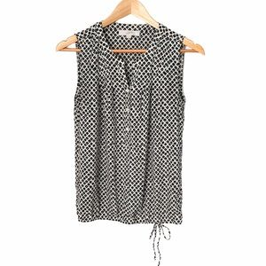 LOFT Printed Soft Shell Blouse With Buttons